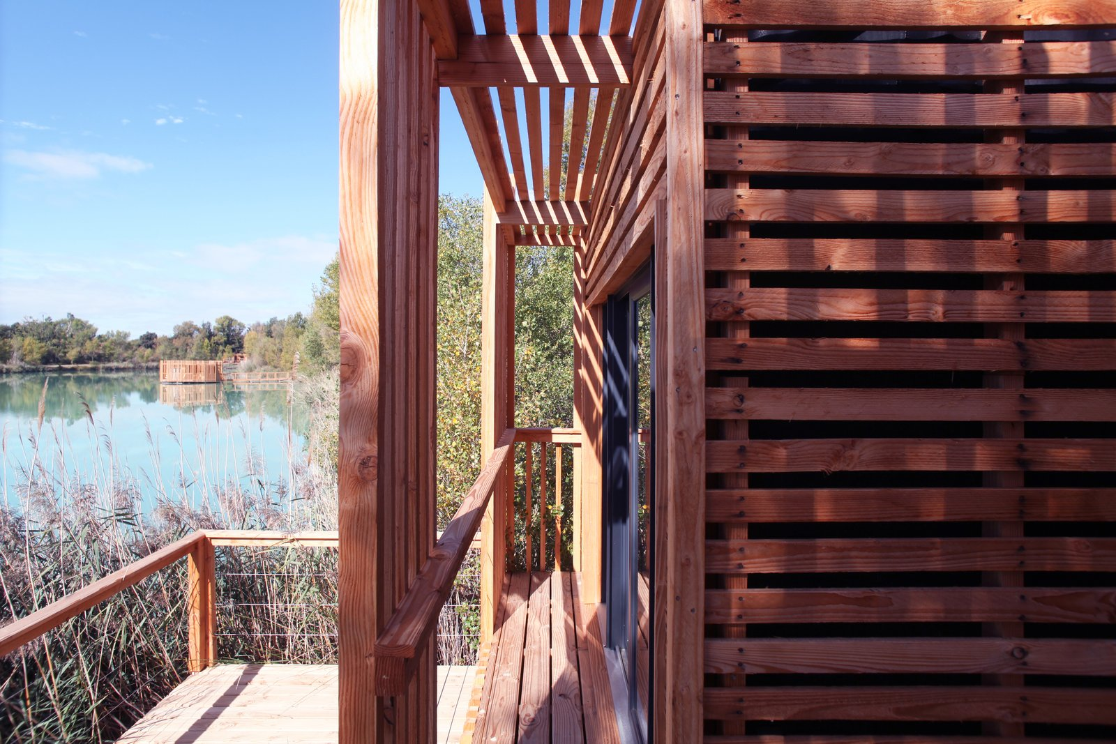 Exterior, Prefab Building Type, Wood Siding Material, Flat RoofLine, and Cabin Building Type An exterior view.  Photo 7 of 13 in Drift Off in a Prefab Cabin at This Floating Hotel in France