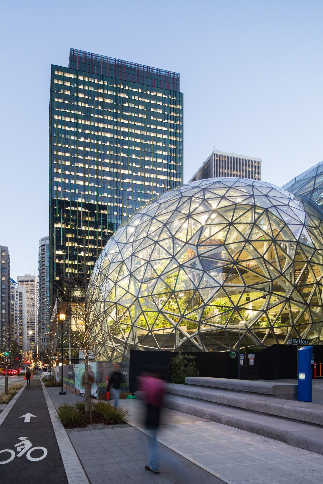 Exterior, Dome RoofLine, and Glass Siding Material In addition to the plants themselves, the interior also includes tree houses, bridges, a waterfall and a conference room enclosed by greenery.  Photo 4 of 9 in Meet Downtown Seattle's Newest Landmark: The Amazon Spheres