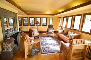 The home boasts original casement windows.