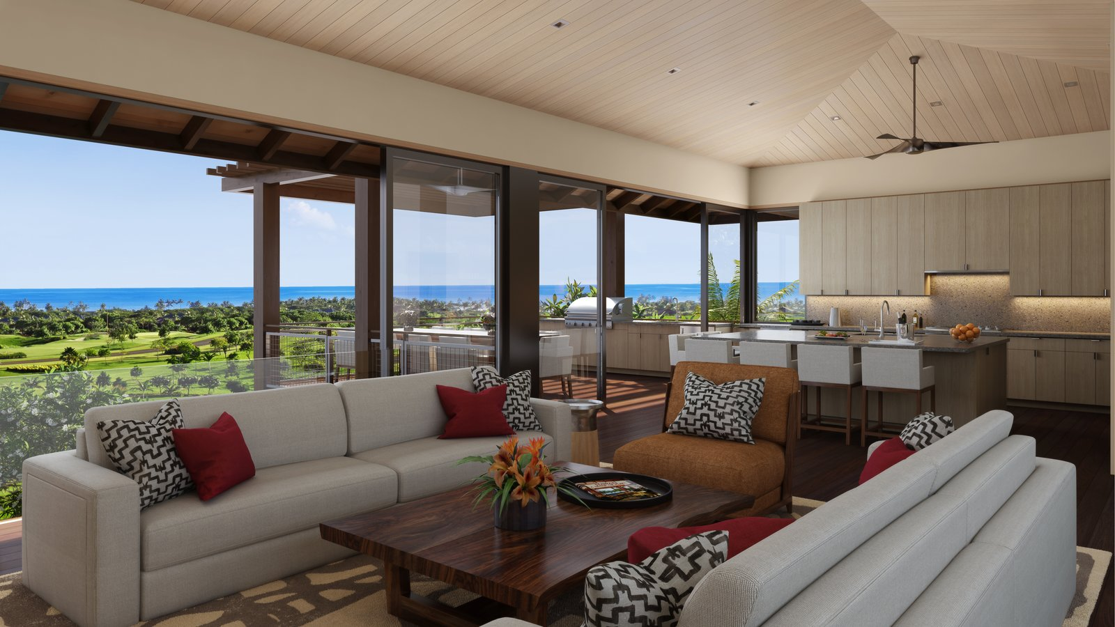 Living Room, Chair, Coffee Tables, and Sofa The open kitchen and living area are perfect for casual entertaining.  Photo 4 of 14 in A Breezy Hawaiian Residence by Olson Kundig Hits the Market at $6.95M