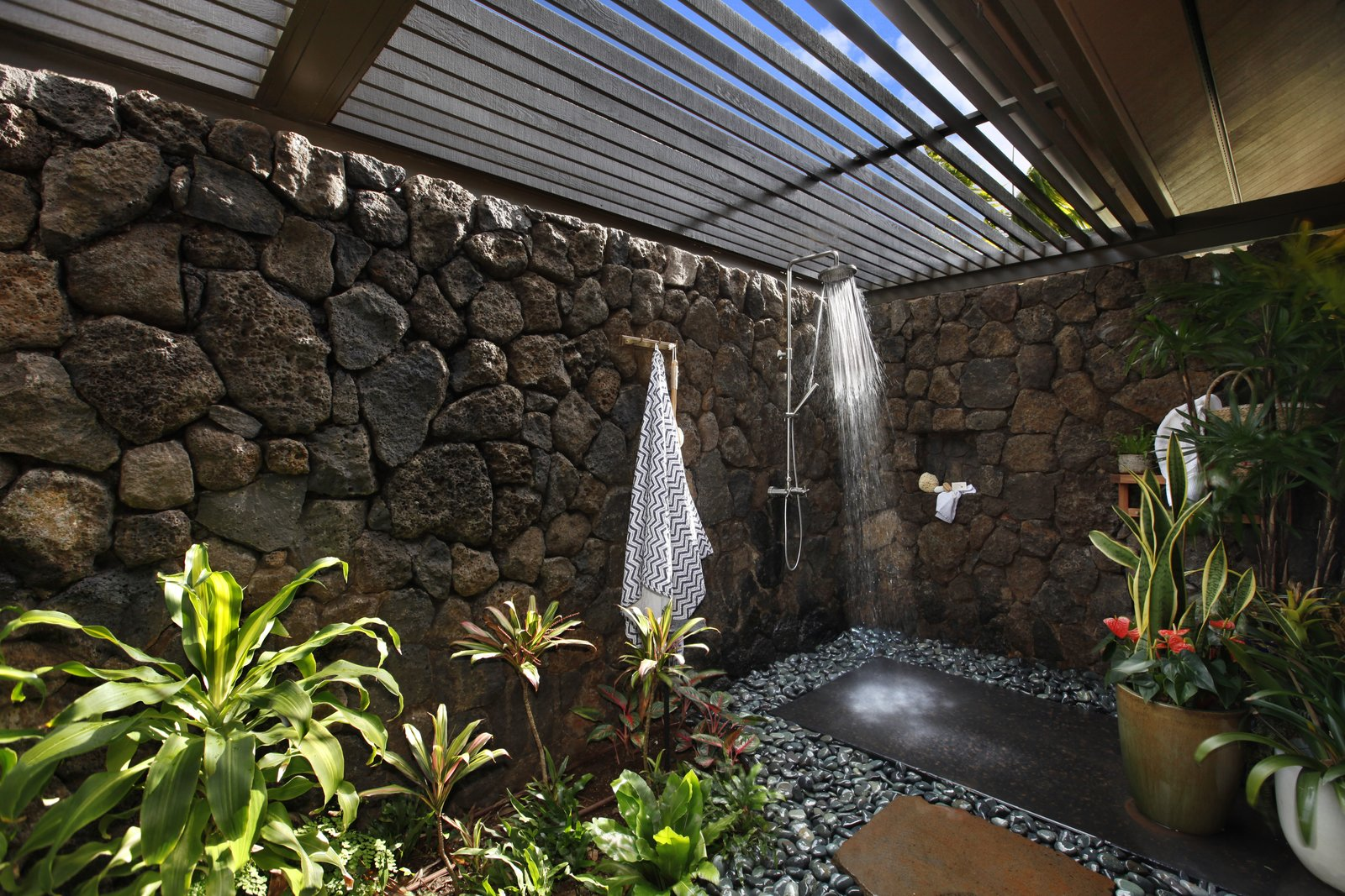 Bath Room and Open Shower The garden shower.  Photo 12 of 14 in A Breezy Hawaiian Residence by Olson Kundig Hits the Market at $6.95M