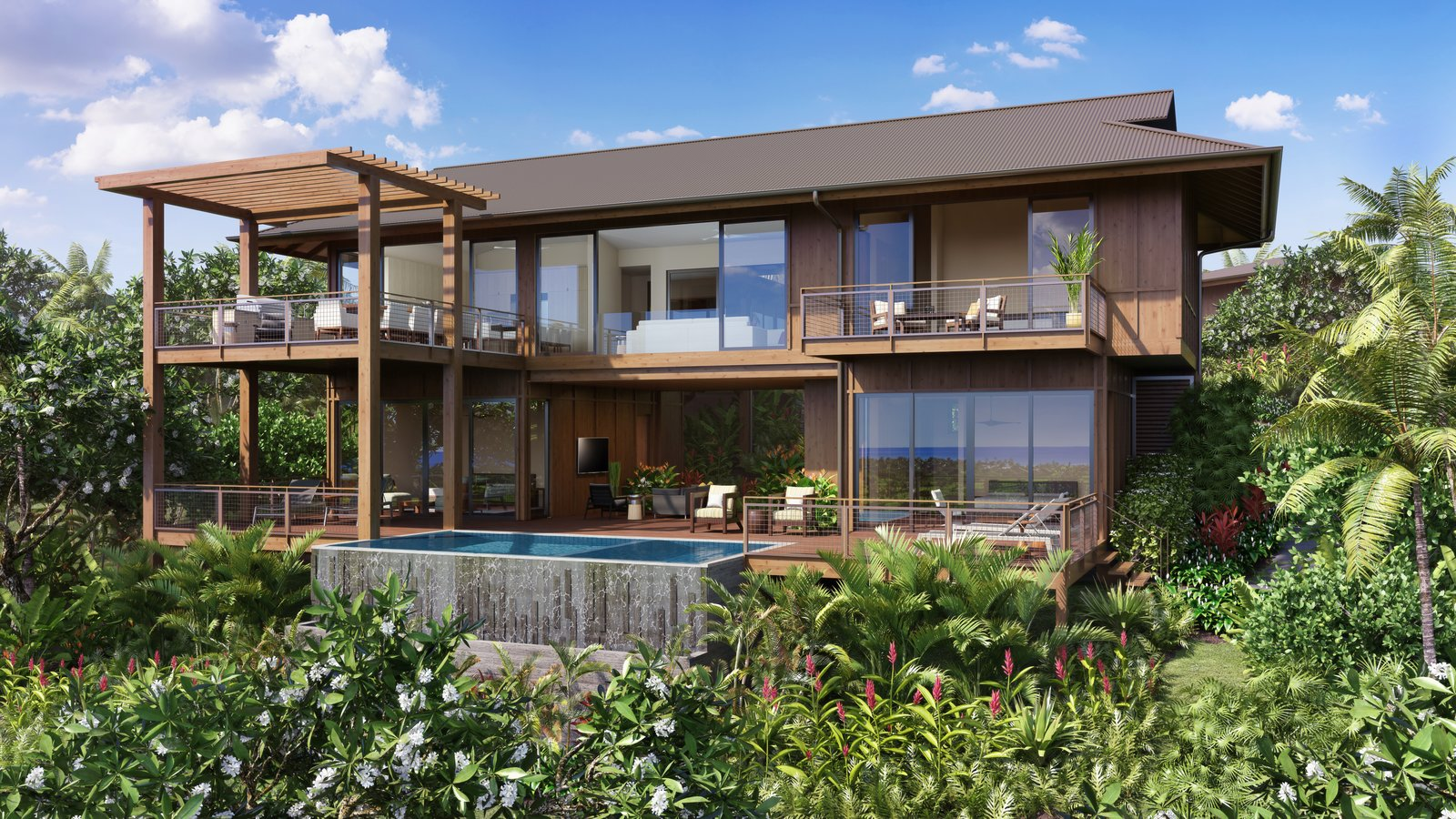 Outdoor, Infinity, Back Yard, Small, Trees, Gardens, Large, Walkways, and Flowers The gorgeous exterior view.  Best Outdoor Flowers Large Photos from A Breezy Hawaiian Residence by Olson Kundig Hits the Market at $6.95M