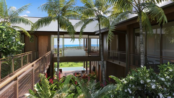The home has a strong relationship with the land that is in harmony with the tropical environment.