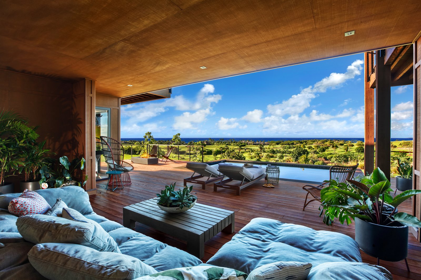 Outdoor, Small Pools, Tubs, Shower, Back Yard, Raised Planters, Infinity Pools, Tubs, Shower, and Large Patio, Porch, Deck The lanai and the private pool.  HOMES from A Breezy Hawaiian Residence by Olson Kundig Hits the Market at $6.95M