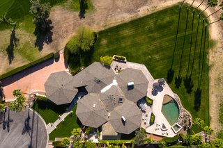 An arial view of the property clearly illustrates the five attached pods.