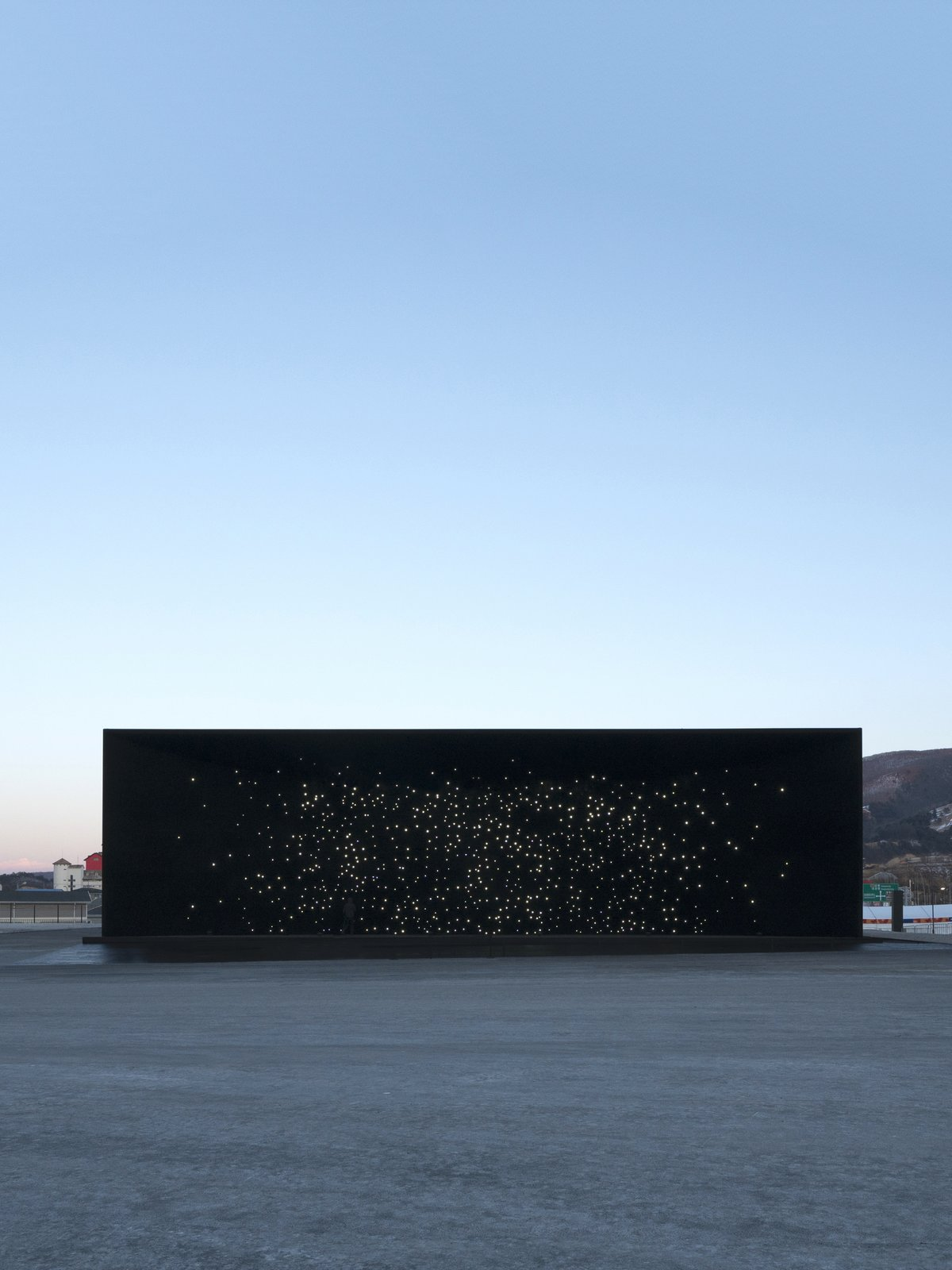 Exterior From a distance, the structure has the appearance of a window looking into the depths of outer space.  Photo 1 of 11 in The PyeongChang Winter Olympics in South Korea Debuts the Darkest Building on Earth