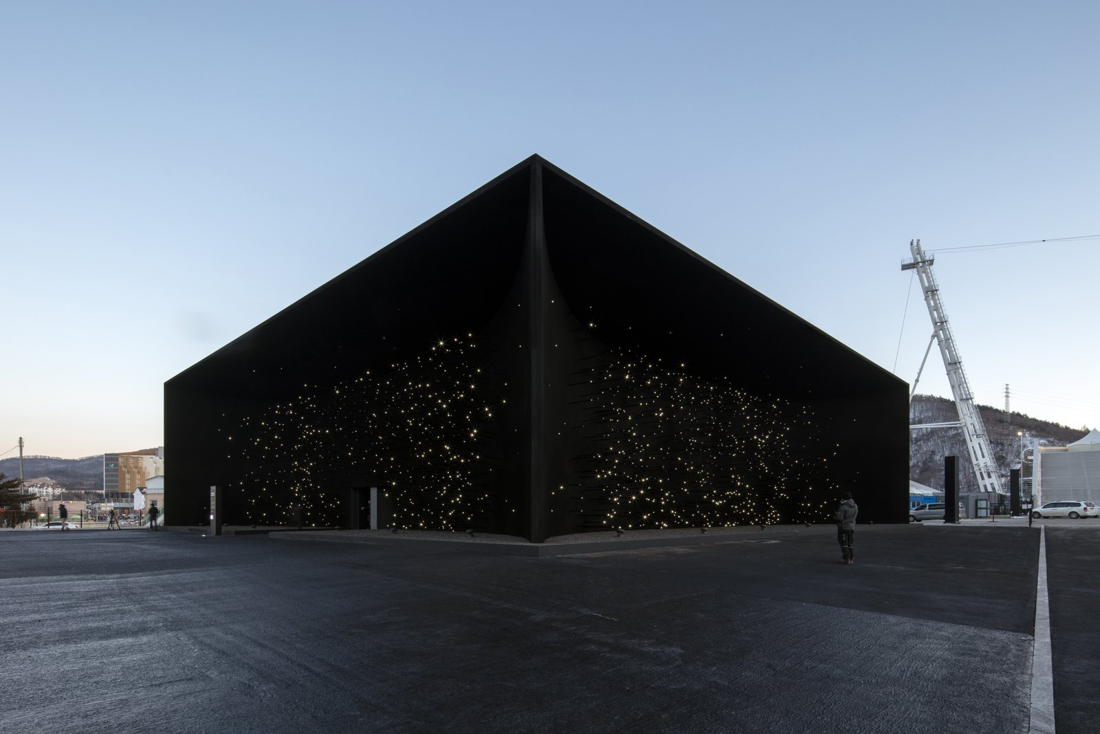 Exterior Above is another view of Khan's stunning structure.  Photo 11 of 11 in The PyeongChang Winter Olympics in South Korea Debuts the Darkest Building on Earth