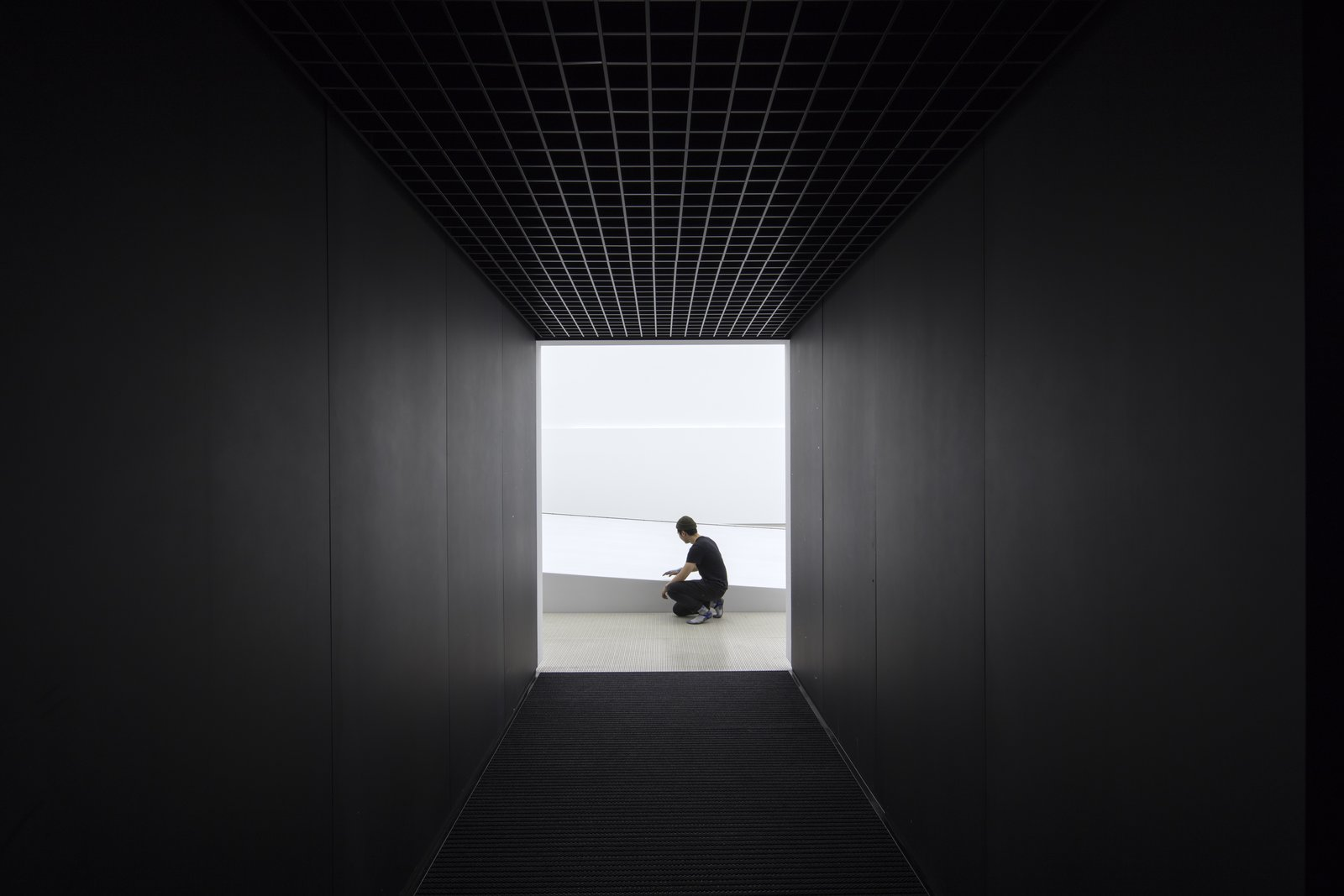 Hallway Entering the structure.  Photo 5 of 11 in The PyeongChang Winter Olympics in South Korea Debuts the Darkest Building on Earth