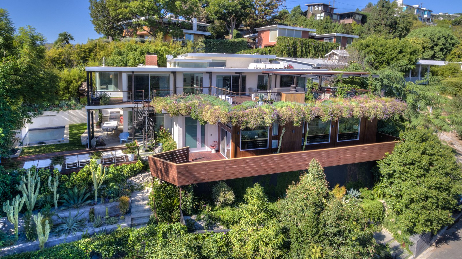 Exterior, Concrete, Metal, Wood, Mid-Century, Flat, and House The vi  Exterior Wood Metal Concrete Mid-Century Photos from A Renovated Harry Gesner–Designed Midcentury in L.A. Wants $9.4M