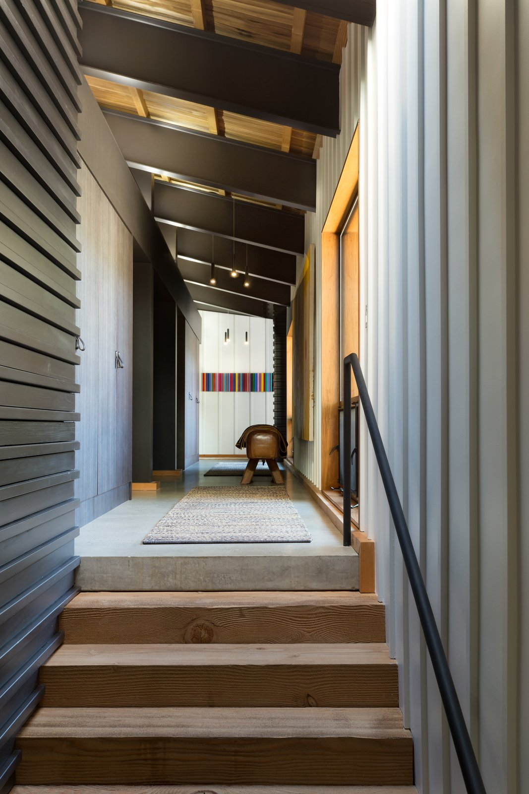 Staircase, Metal Railing, and Wood Tread The mix of m  Photo 10 of 23 in A Private California Compound Hits the Market at $5M