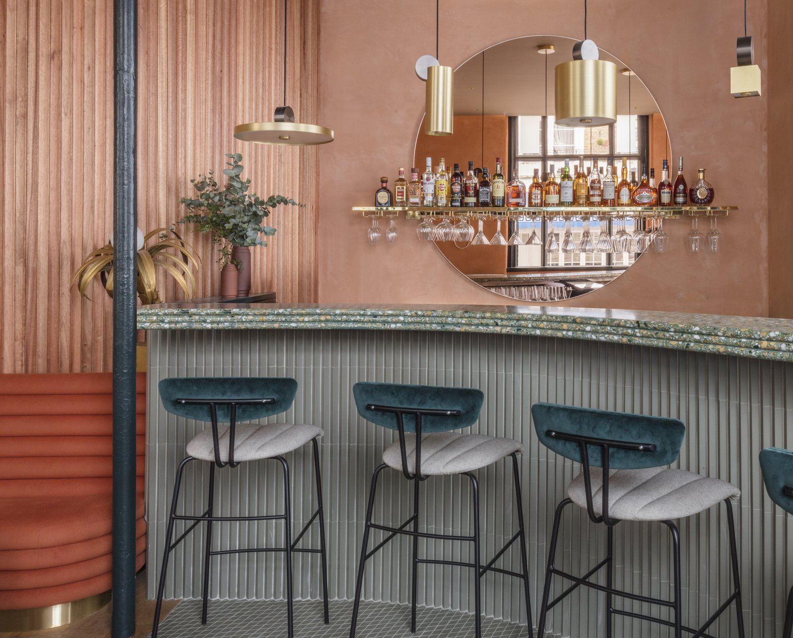 Dining, Chair, Stools, Pendant, Bar, and Bench Assorted brass pendant lighting over the terrazzo bar.  Best Dining Bar Bench Photos from A Historic London Property Is Converted Into a Modern Mediterranean Eatery