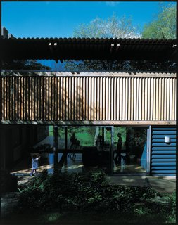 The modern timber-framed addition.