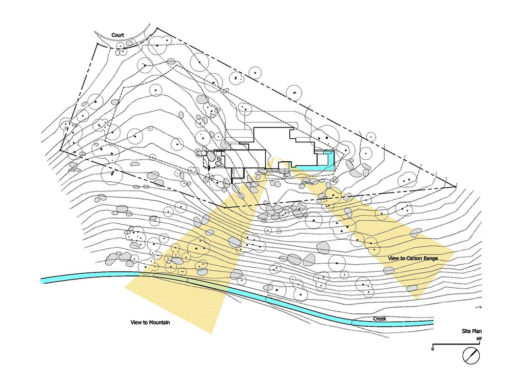The site plan.  Photo 18 of 18 in This Concrete Abode Stretches Over Giant Boulders