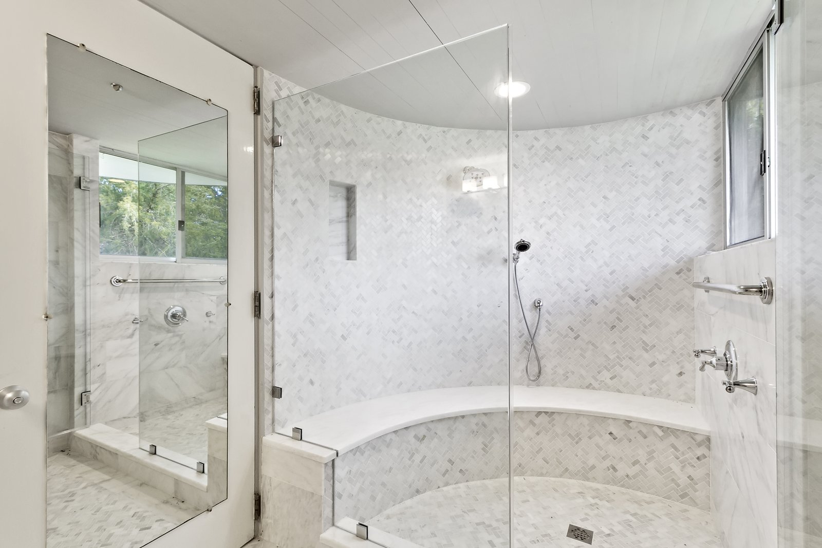 Bath, Mosaic Tile, Enclosed, and Ceiling The large enclosed shower in the master bath.  Best Bath Mosaic Tile Ceiling Photos from Modernist Charles Gwathmey's Personal Hamptons Home Asks $4.85M
