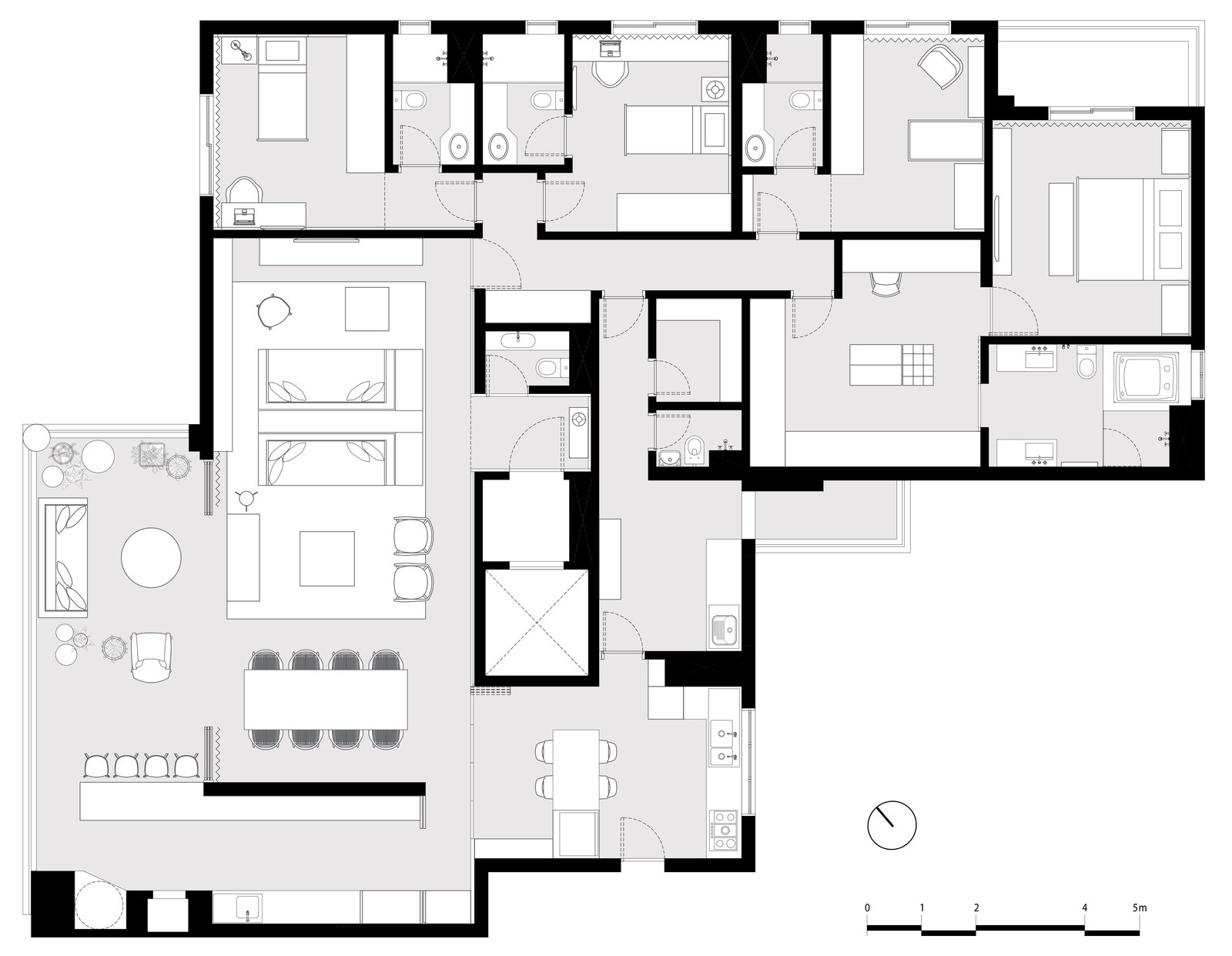The floor plan.  Photo 17 of 17 in Color Unites With Texture to Make This Brazilian Abode Appear Much Larger and Brighter