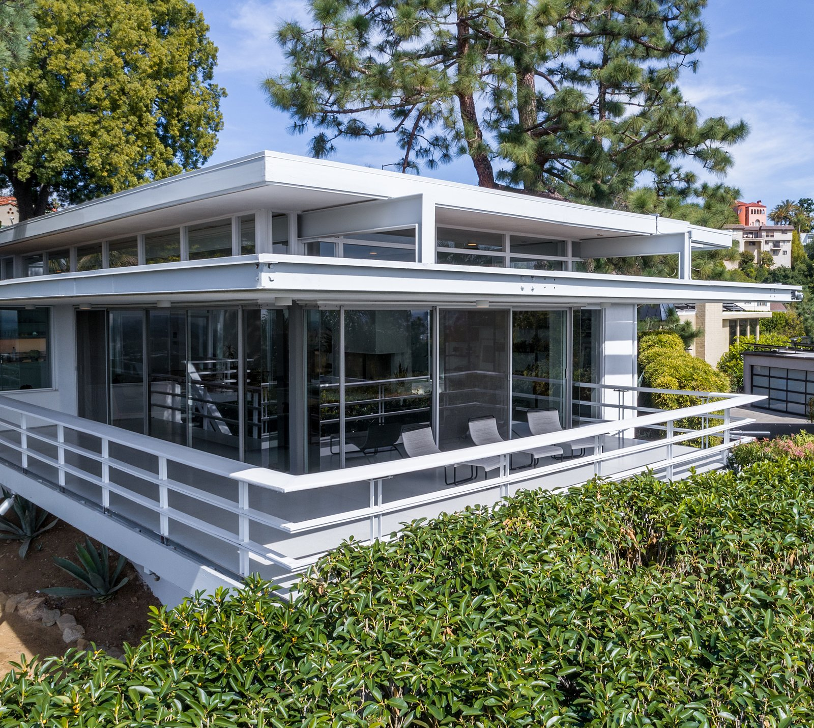 Clerestory windows add to the clean, modernist vibe.