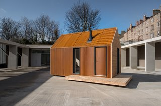 With an internal space of 132 square feet and a 18' x 9.8' footprint, the Artist Bothy is constructed from cross-laminated timber panels clad in Corten corrugated metal and Scottish larch.