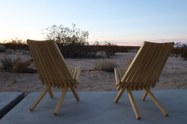 The tiny patio is a perfect spot to enjoy the desert air and the starry sky.