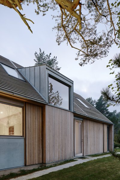 The modern gable construction is a riff on traditional building traditions in the region.