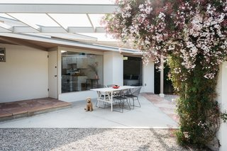 The addition of an angular backyard arbor, framed by perfumed jasmine, was based on Schindler's original concept drawings for the home.
