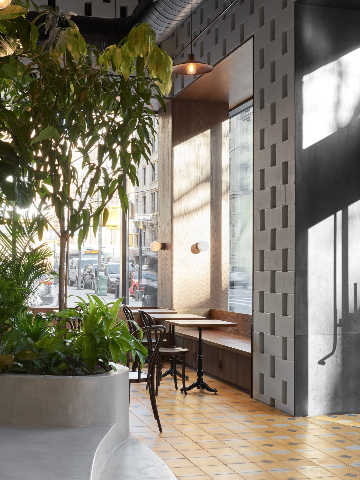 Dining, Pendant, Table, Chair, Cement Tile, Concrete, Wall, and Bench Large expanses of glass provide ample natural light, adding to the tropical vibe.     Best Dining Cement Tile Wall Photos from This New Brooklyn Cafe Is Brewing Up More Than Tasty Artisanal Coffee