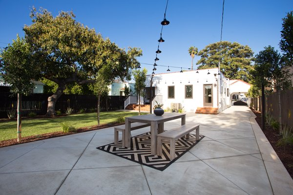 A patio provides space for al fresco dining.