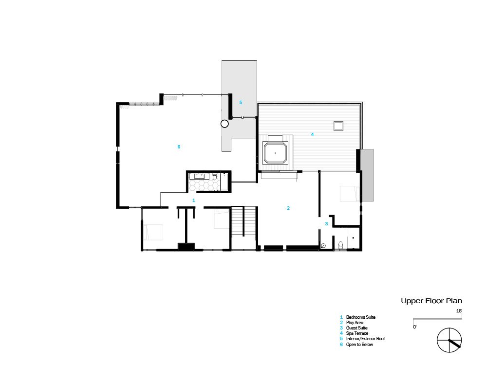 Upper floor plan  Photo 18 of 18 in An Uplifting Lake Tahoe Retreat Uses Light as a Building Material