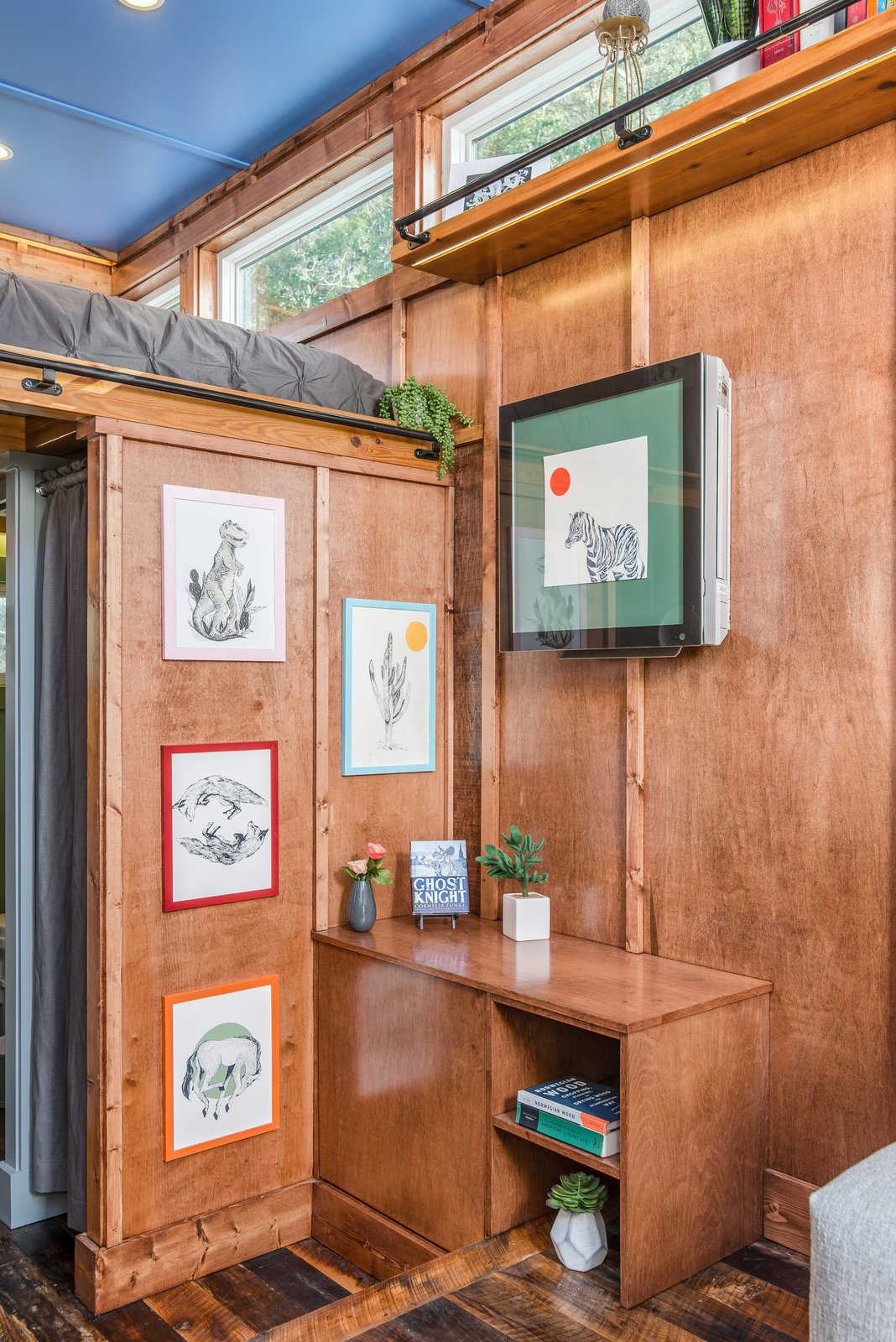 Storage Room and Cabinet Storage Type Shelving and storage was added as space allowed.  Photo 9 of 12 in This Tiny Home and Writing Studio Was Invented for a Children's Author