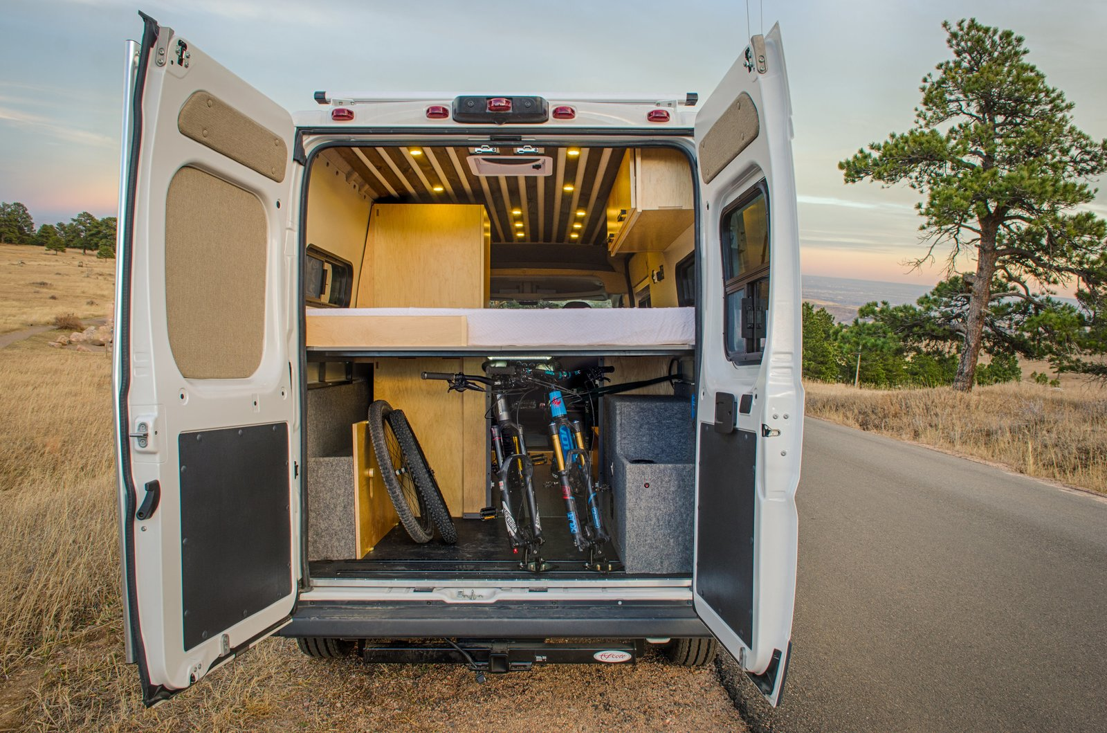 Exterior and Camper Building Type In addition to its gorgeous interiors, the model boasts 300AH of Battleborn lithium battery power storage, a bluetooth enabled Smartsolar controller, a 2000W Go-Power inverter, and room for two mountain bikes.      Photo 12 of 14 in 7 Van Conversion Companies That Will Do the Legwork For You