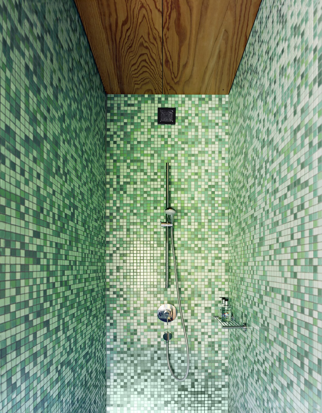 Bath Room, Enclosed Shower, and Mosaic Tile Wall A beautifully designed, mosaic-like tile shower.   Photo 11 of 13 in A Sculptural Steel Abode on Lake Geneva Is Up For Auction