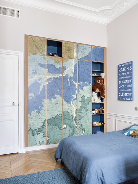 Oh My Wall from Paris Wallpaper was fitted on wardrobe doors in one of the children's rooms.