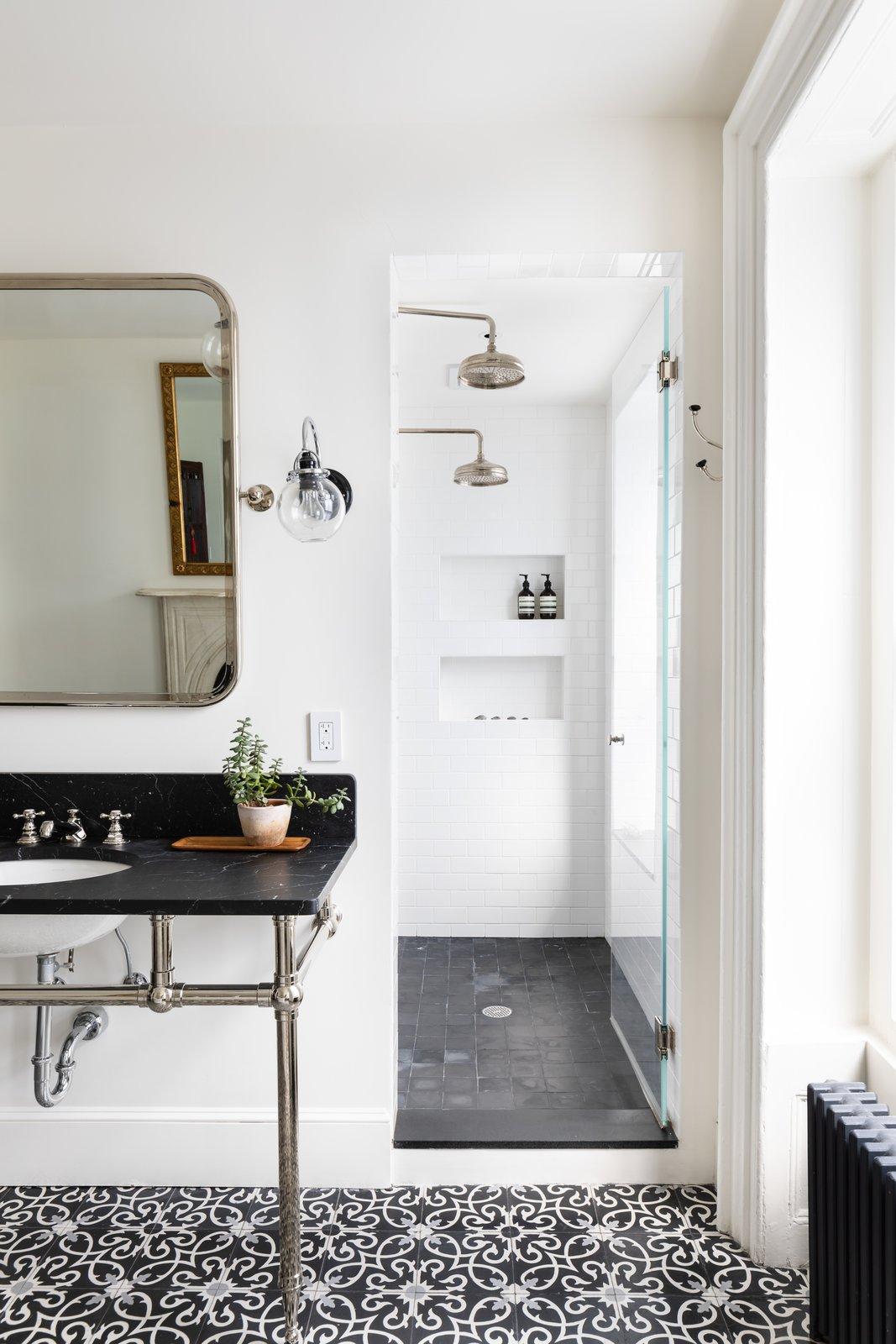 Bath, Cement Tile, Enclosed, Marble, Wall Mount, and Wall This room also has a separate walk-in shower.    Best Bath Enclosed Wall Wall Mount Photos from A Beautifully Restored Brooklyn Brownstone Is Listed at $4M