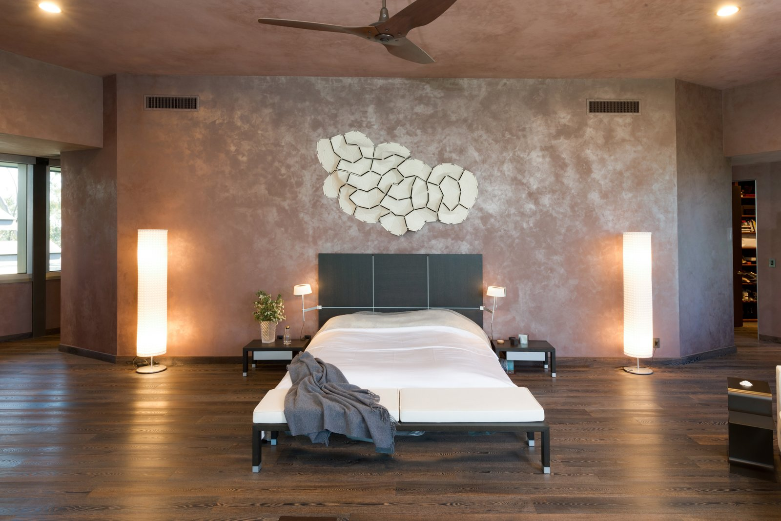 Bedroom, Night Stands, Recessed, Floor, Dark Hardwood, Bed, and Wall The upper level is devoted to the oversized master suite.    Best Bedroom Bed Floor Dark Hardwood Photos from Wilt Chamberlain's Former Bel Air Bachelor Pad Is Listed For $18.9M