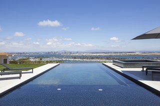 The infinity pool overlooks stunning views of Mexico and the San Diego skyline and harbor.