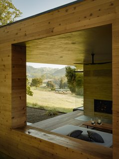 The interior courtyard of the home faces northeast, looking out over the rolling hills.