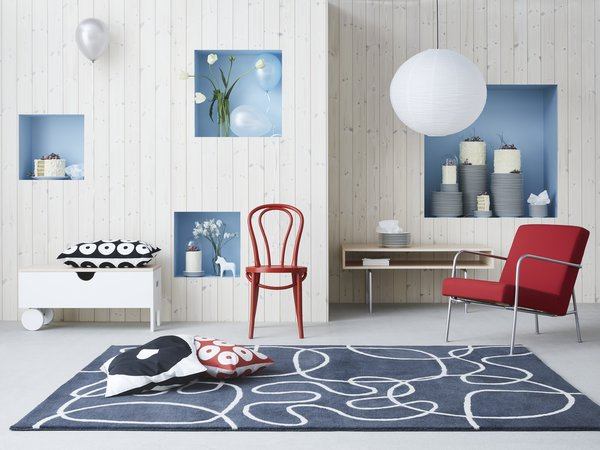 """In the 90s, IKEA mixed minimalist, untreated Scandinavian woods with graphic patterns. """"During the 90s, we went for a more natural expression,"""" explains Gustavsson."""
