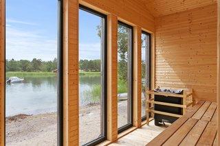 A view from the cedar-clad sauna.
