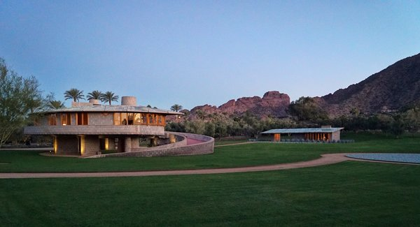 The property at dusk.