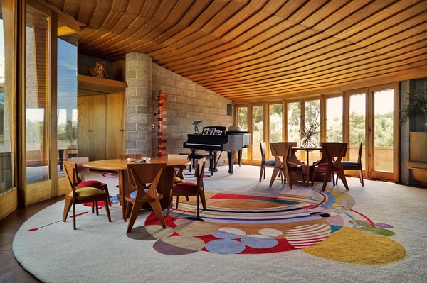 """The living spacefeatures the """"March Balloons"""" carpet designed by Wright."""