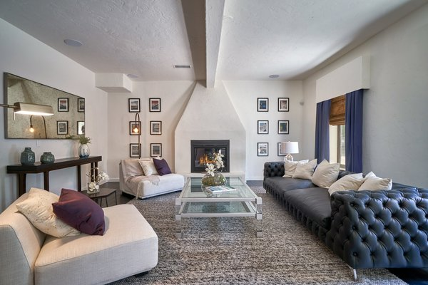 The spacious guest suite also features a fireplace.