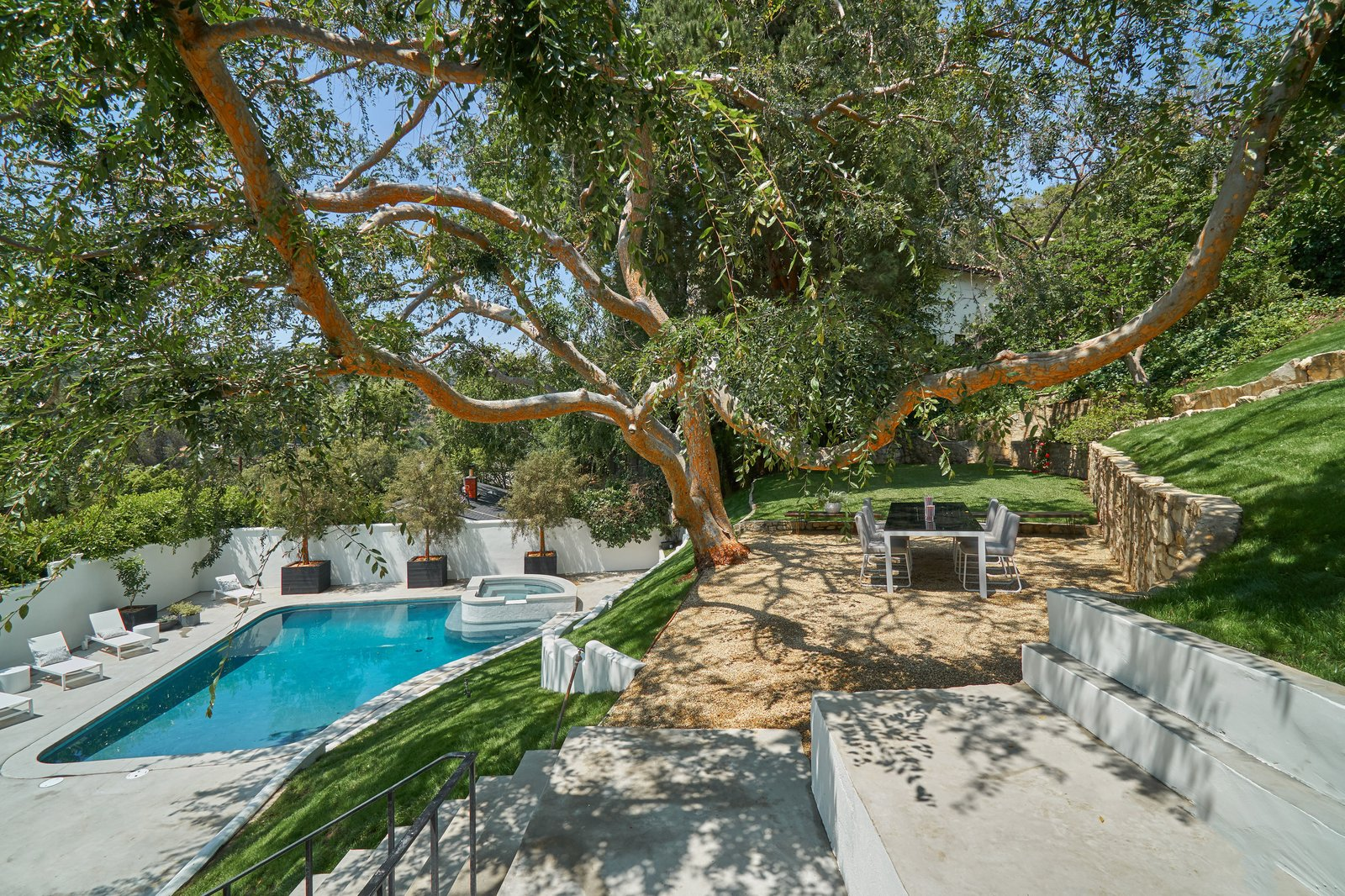 Outdoor, Trees, Concrete, Back Yard, Large, Large, and Grass A stone walkway weaves through a grassy, terraced backyard, which is studded with mature trees and complete with a flat lawn, al fresco dining area, and a walled courtyard surrounding an oversized pool, spa, and hills.    Best Outdoor Concrete Grass Photos from Snatch Up James Dean's Former Hollywood Home For $4M