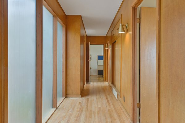 The hallway leading to the private living space.