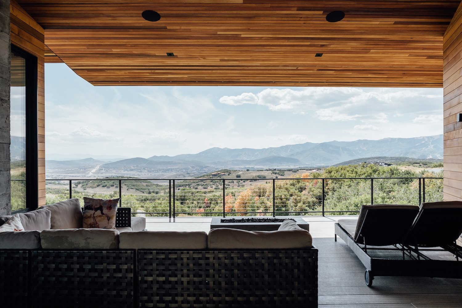 Outdoor, Large, Wood, Trees, Slope, Hanging, Shrubs, Woodland, Back Yard, Metal, and Horizontal A look at the spectacular landscape.   Best Outdoor Horizontal Metal Photos from An Interior Designer's Utah Abode Blends Mountain Living With Scandinavian Style
