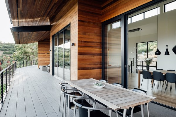 The expansive terrace creates a smooth transition to the outdoors.