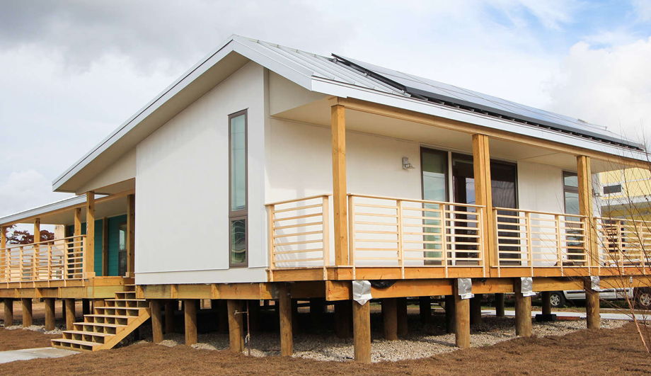Five solar panels line the roof.  Photo 13 of 21 in Here Are the Modern Prefab Designs That Amazon's Investing In