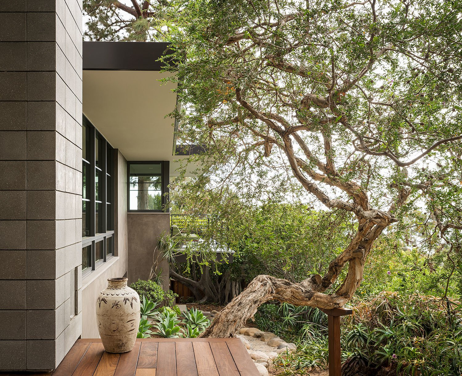 Exterior, House Building Type, Flat RoofLine, and Mid-Century Building Type The exterior is surrounded by lush greenery.  Photo 17 of 23 in A Southern California Midcentury Gets a Serene, Japanese-Inspired Treatment