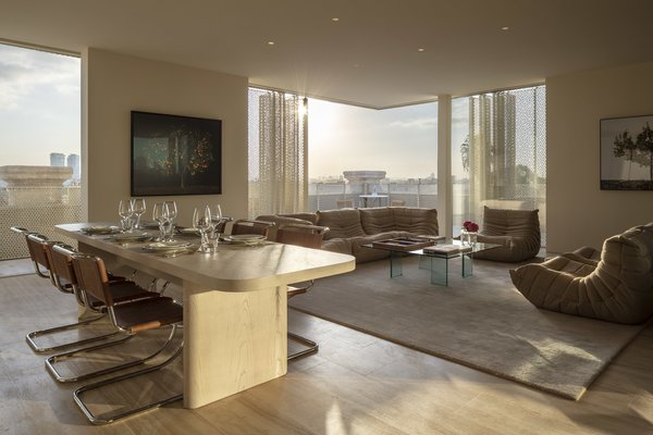 The stylish Presidential suite features a sofa and chairs from Lignet Roset.