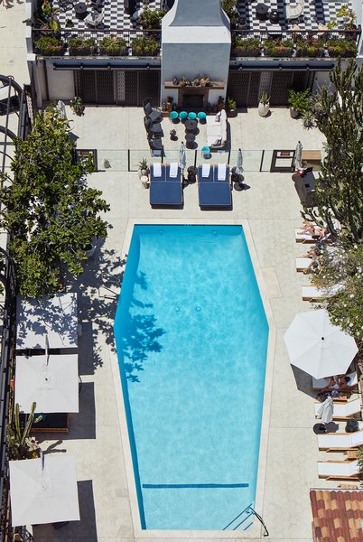 The iconic coffin-shaped pool is one of the hotel's original features that Studio Collective updated and maintained.