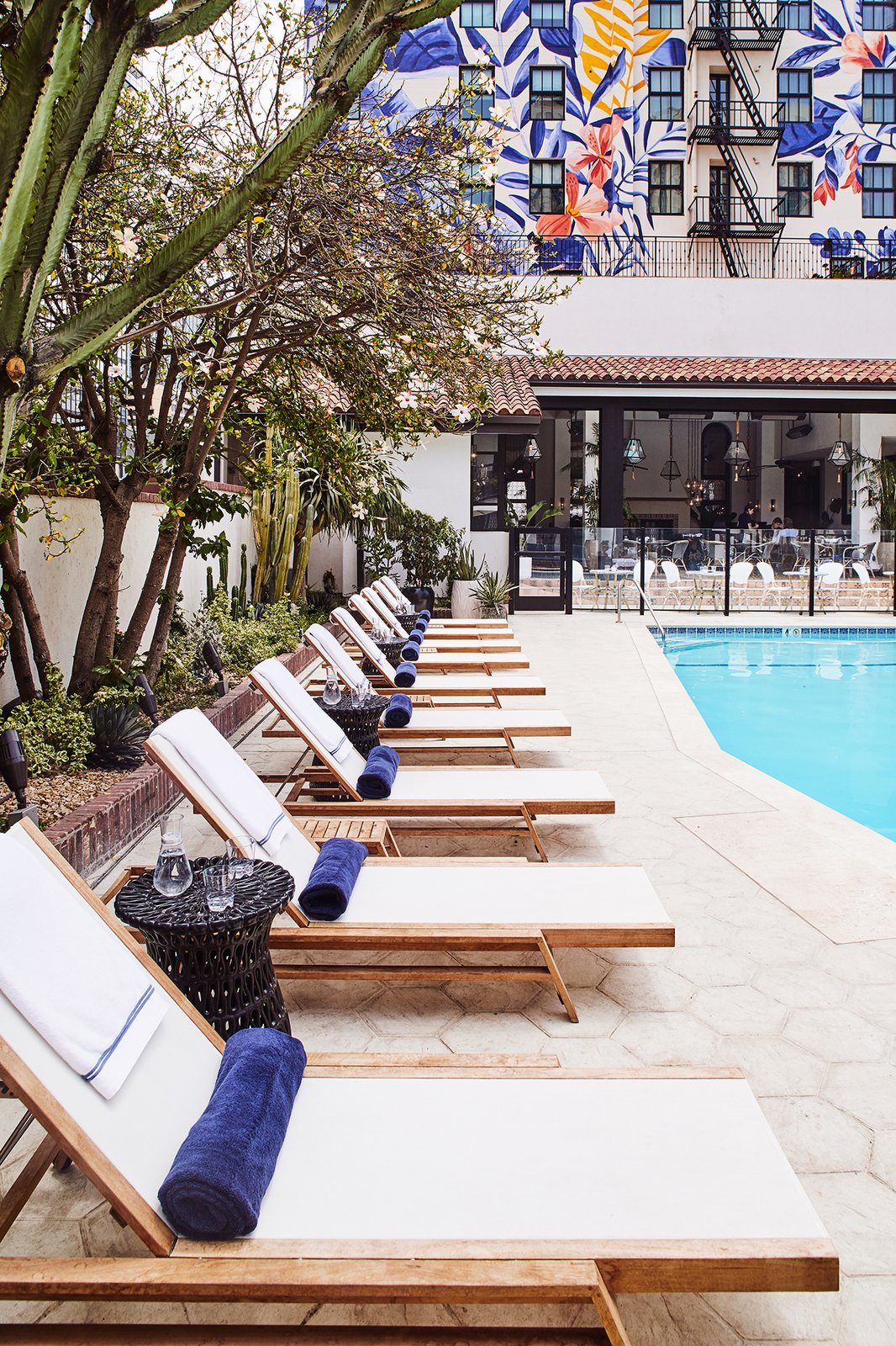 Poolside daybeds at Hotel Figueroa