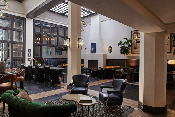 "The skylights in the hotel's lobby were old, dirty, and ""a little bit decrepit,"" according to Goldstein. The updated space is filled with light and buzzing with creativity."